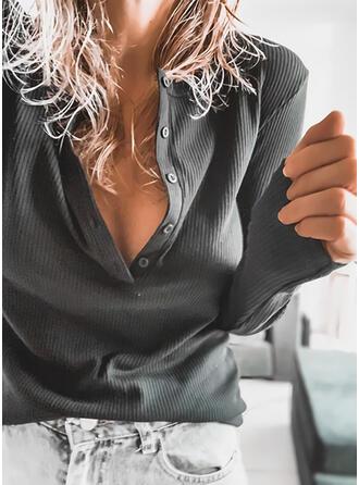 Einfarbig V-Ausschnitt Lange Ärmel Mit Knöpfen Freizeit Stricken Blusen