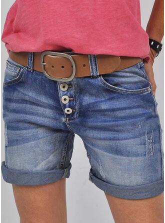 Solid Denim Above Knee Casual Vintage Plus Size Pocket Shirred Button Pants Shorts Denim & Jeans