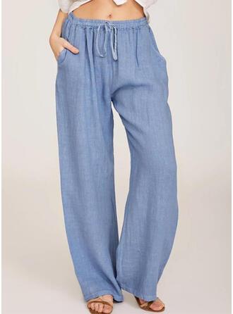 Taschen Shirred Übergröße Lange Lässige Kleidung Lange Hosen