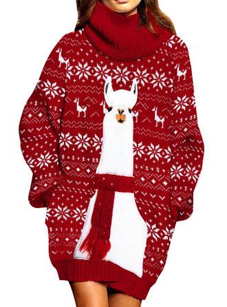 Animal-Print Rollkragen Freizeit Lang Weihnachten Pulloverkleid