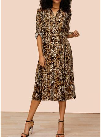 Leopard Lange Ärmel A-Linien Hemd Freizeit Midi Kleider