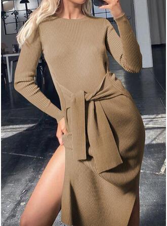 Einfarbig Lange Ärmel Etui Knielang Kleine Schwarze/Elegant Kleider