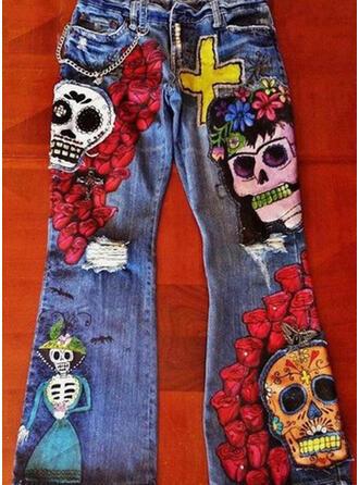 Farbblock Übergröße Halloween Lange Lässige Kleidung Stammes Denim Jeans