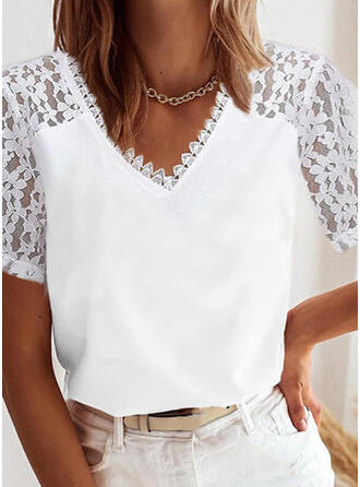 Solid Chiffon Lace V-Neck Short Sleeves Raglan Sleeve Elegant Blouses