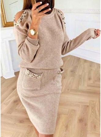 Einfarbig/Perlen Lange Ärmel/Kalte Schulter Ärmel Figurbetont Knielang Freizeit Pullover Kleider