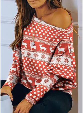 Animal-Print Eine-Schulter Lange Ärmel Weihnachten Blusen