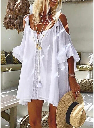 Lace/Solid 3/4 Sleeves/Flare Sleeves Shift Above Knee Casual/Vacation Tunic Dresses