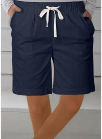 Einfarbig Übergröße Kordelzug Über dem Knie Lässige Kleidung Sportlich Kurze Hose