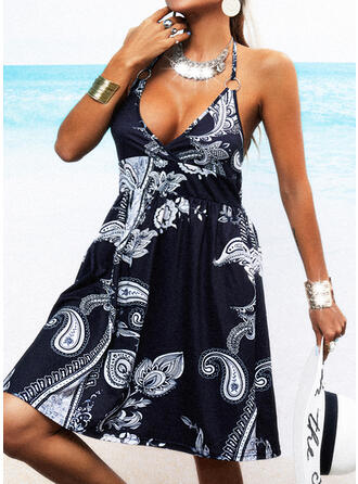 Print/Backless Sleeveless A-line Knee Length Casual/Vacation Skater Dresses