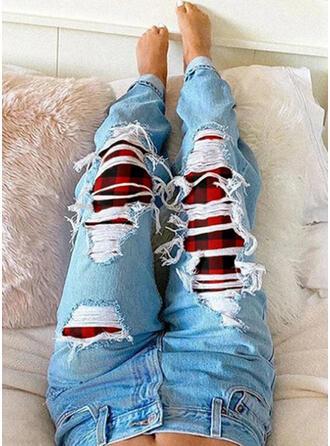 Plaid Plus Size Ripped Tribal Vintage Denim & Jeans
