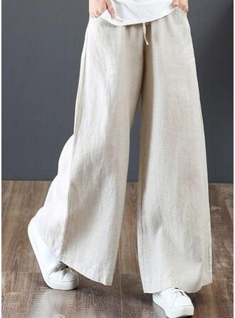 Taschen Shirred Übergröße Lange Boho Lässige Kleidung Elegant Hosen