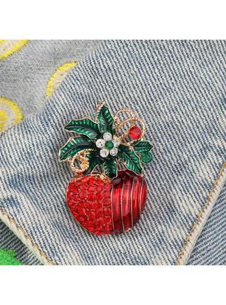 Glänzende Kirsche Weihnachten Legierung mit Strass Mode-Broschen