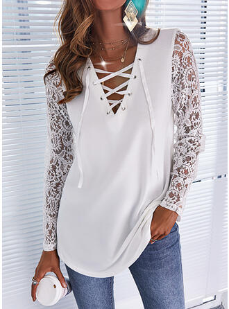 Solid Lace V-Neck Long Sleeves