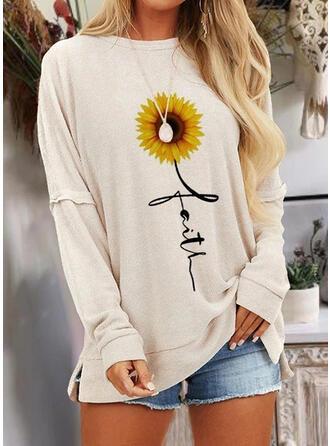 Sonnenblumendruck Rundhalsausschnitt Lange Ärmel Freizeit T-shirts