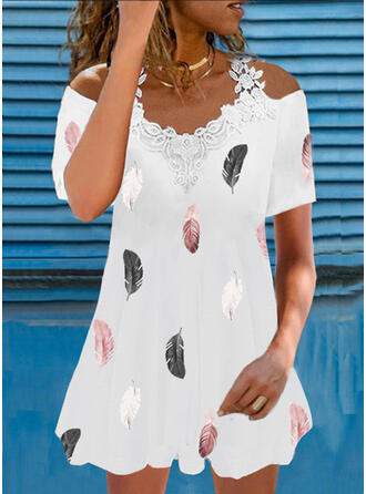 Lace/Print Short Sleeves Shift Above Knee Casual Tunic Dresses