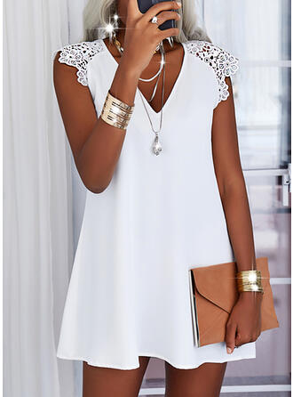 Lace/Solid Cap Sleeve Shift Knee Length Casual Tunic Dresses