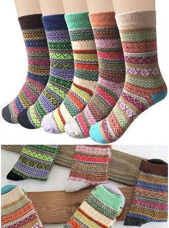 Geometric Print Warm/Comfortable/Crew Socks/Unisex Socks (Set of 5 pairs)