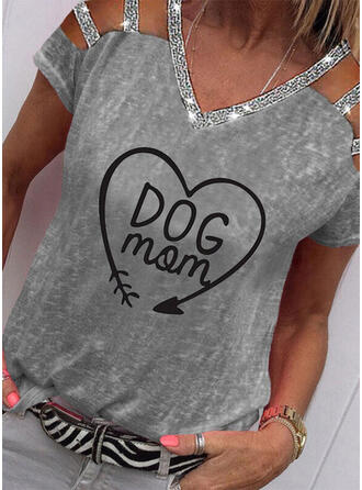 Print Sequins Figure Heart Cold Shoulder Short Sleeves Casual Mother's Day Blouses