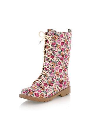 Frauen PU Stämmiger Absatz Kniehocher Stiefel Round Toe mit Zuschnüren Blumenmuster Schuhe