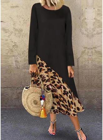 Leopard Lange Ärmel Shift Freizeit Maxi Kleider