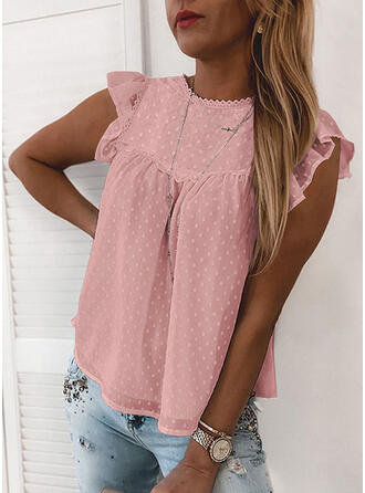 Solid Round Neck Cap Sleeve Tank Tops