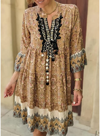 Print/Floral 3/4 Sleeves/Flare Sleeves Shift Knee Length Casual/Boho Tunic Dresses