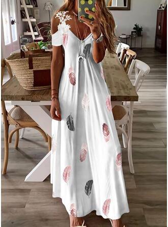 Print Short Sleeves A-line Slip/Skater Casual Maxi Dresses