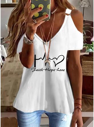 Heart Print Letter Cold Shoulder Short Sleeves T-shirts