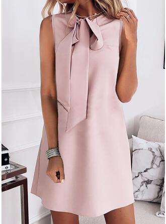 Solid Sleeveless Shift Above Knee Elegant Dresses