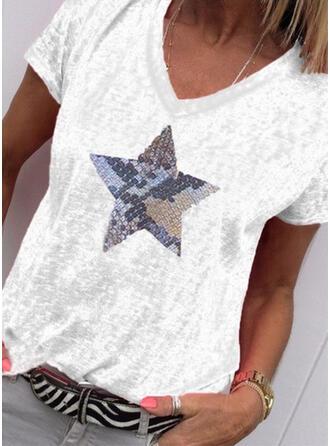 Drucken V-Ausschnitt Kurze Ärmel Freizeit Stricken T-shirts