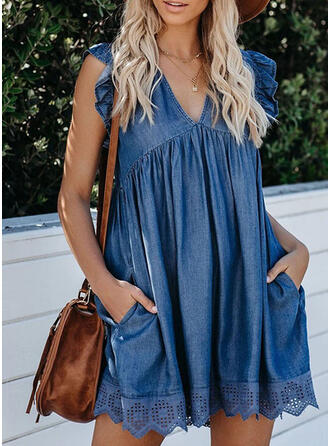 Solid/Hollow-out Cap Sleeve Shift Above Knee Casual/Denim Tunic Dresses