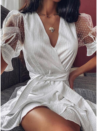 Solid Short Sleeves/Puff Sleeves A-line Above Knee Elegant Wrap/Skater Dresses