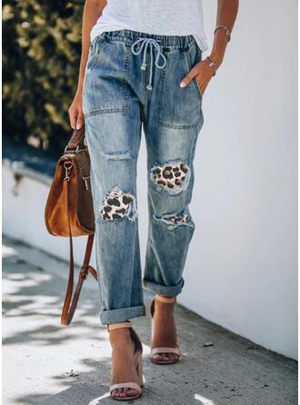 Patchwork Leopard Drawstring Casual Tribal Denim & Jeans