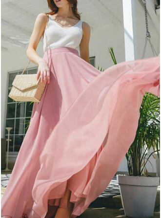 Cotton Blends Plain Floor Length Flared Skirts