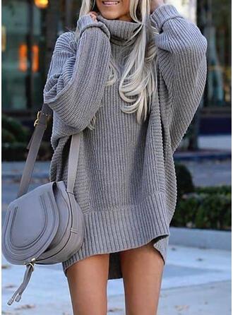 Einfarbig Lange Ärmel Shift Über dem Knie Freizeit Pullover Kleider
