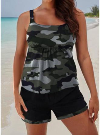 Strap U-Neck Plus Size Tankinis Swimsuits