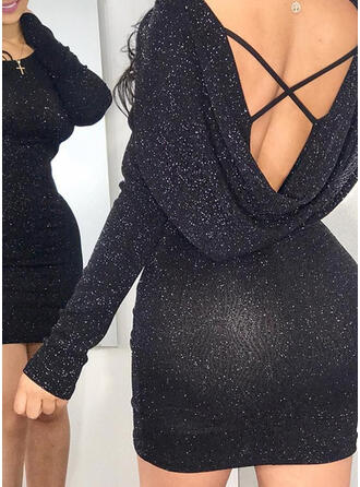 Solid/Backless Long Sleeves Bodycon Above Knee Little Black/Sexy/Party Dresses