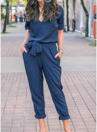 Einfarbig V-Ausschnitt Kurze Ärmel Lässige Kleidung Elegant Overall