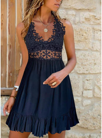 Lace/Solid/Hollow-out Sleeveless A-line Above Knee Casual Skater Dresses
