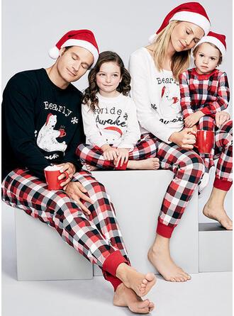 Karierte Drucken Passende Passende Familie Pyjama