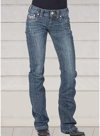 Solid Embroidery Plus Size Elegant Vintage Denim & Jeans