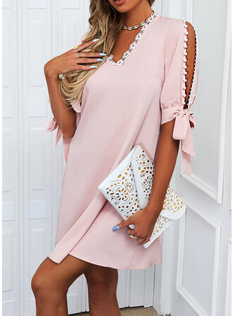 Solid Lace 1/2 Sleeves Slit Sleeve Shift Above Knee Casual Dresses
