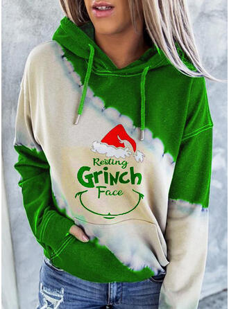 Drucken Farbblock Figur Lange Ärmel Weihnachts-Sweatshirt