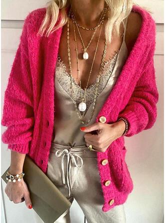 Einfarbig Taschen Freizeit Strickjacken