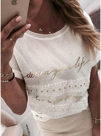 Figure Lace Round Neck Short Sleeves T-shirts