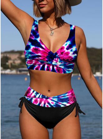 Tie Dye Print Strap V-Neck Plus Size Colorful Casual Bikinis Swimsuits