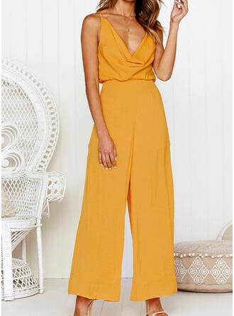 Einfarbig V-Ausschnitt Ärmellos Lässige Kleidung Sexy Overall