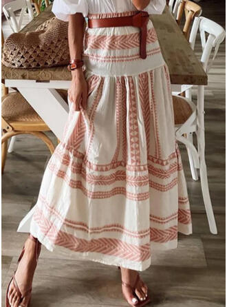 Polyester Striped Maxi A-Line Skirts