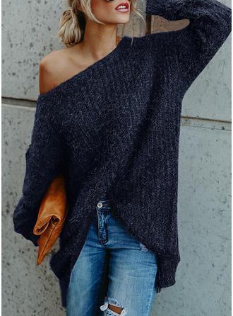 Einfarbig One-Shoulder Freizeit Pulloverkleid