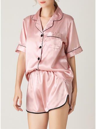 V-Neck Short Sleeves Solid Color Casual Top & Short Sets